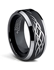 Metal Masters Co.® 8MM Black Men's Tungsten Ring with Laser Etched Tribal Design Sizes 7 to 13
