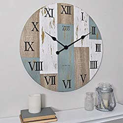 FirsTime & Co. 25694 24 Timber Planks Wall Clock, 24, 24