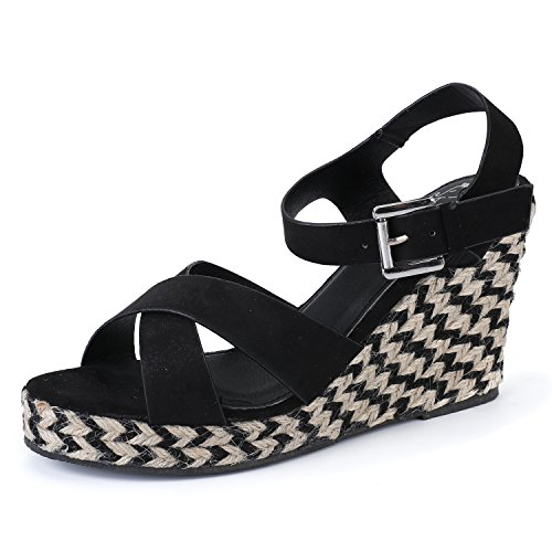 Alexis Leroy Women's Open Toe Cross Strap Wedge Espadrille Sandals Black 38 M EU/7-7.5 B(M) US