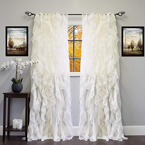 DiamondHome 1pc Cascade Shabby Chic Sheer Ruffled Curtain Panel (Ivory, 84
