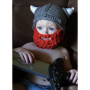 Kids Crochet Viking Hat with Beard and Horns for Baby Boy Toddler or Infant 98d034417192