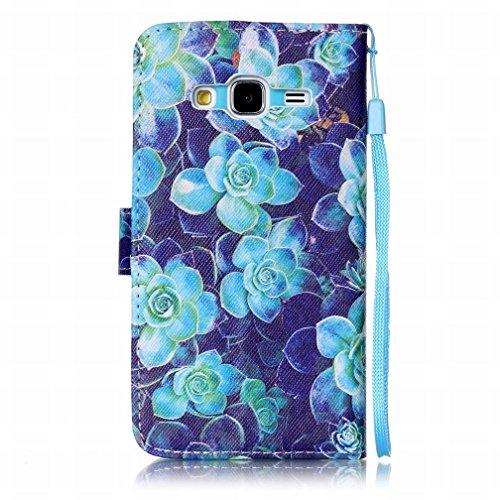 Yiizy Samsung Galaxy J3 (2016) J320 Funda, Blue Rose Diseño Solapa Flip Billetera Carcasa Tapa Estuches Premium PU Cuero Cover Cáscara Bumper Protector Slim Piel Shell Case Stand Ranura para Tarjetas
