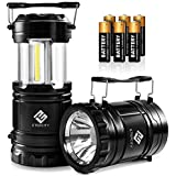 Etekcity Portable LED Camping Lantern and Flashlight with AA Batteries for Camping, Hiking, Fishing, Reading, Emergency, Hurricane, Power Outage (Black, Collapsible)
