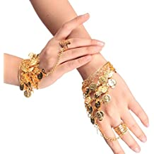 Sealike Beautiful Belly Dance Gold Triangle Bracelet Gypsy Jewelry Coin Bracelet Hand Decoration Wrist Bangle Ring with a Stylus (Gold)