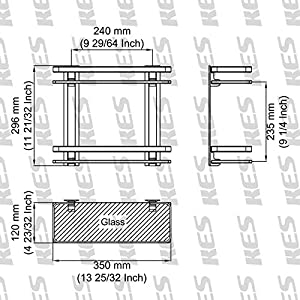 Kes A4126B 8mm Single-Panel Strong Safety Glass Shelves with Aluminium Posts Wall-Mount Square Double Deck