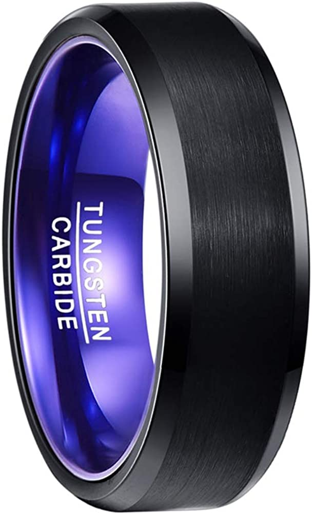 Black Frosted Blue Purple Inner Tungsten Carbide Ring Man Classic Vintage Wedding Band