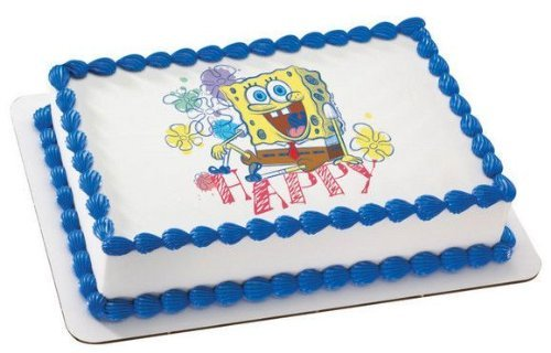 1/4 Sheet ~ Spongebob Happy Birthday ~ Edible Image Cake/Cupcake Topper!!! -