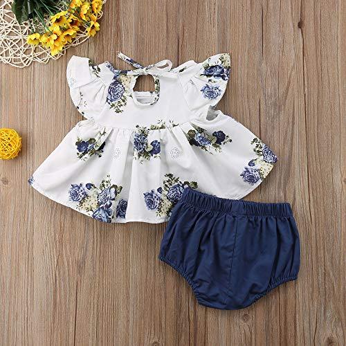 Amazon.com: Newborn Baby Girl Floral T-Shirt Dress Tops Shorts Pants ...