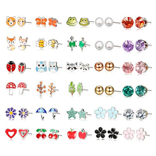Nina Set Earrings - Yadoca Stainless Steel 30 Pairs Kids Stud Earrings for Girls Women Mixed Color Cute Animals CZ Jewelry Earring Set Heart Star Fox Bee Frog Ladybug Daisy Flower Tree Mushroom Umbrella Rose Gold White