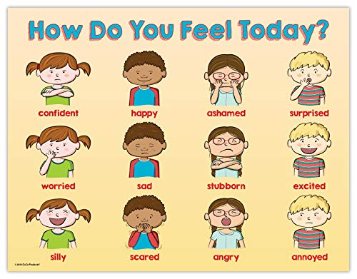 Safety Magnets Elementary School Posters - Kids Feelings Kids Emotions Classroom Poster - 17 x 22 in, Laminated (Safety Charts)