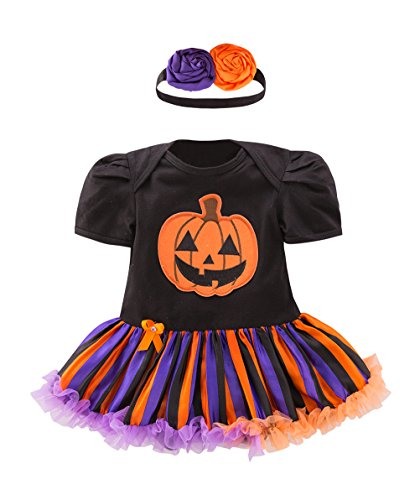 May's Baby Girls Pumpkin First Halloween Costume Tutu Romper Outfit Set With (May Baby Halloween Costumes)