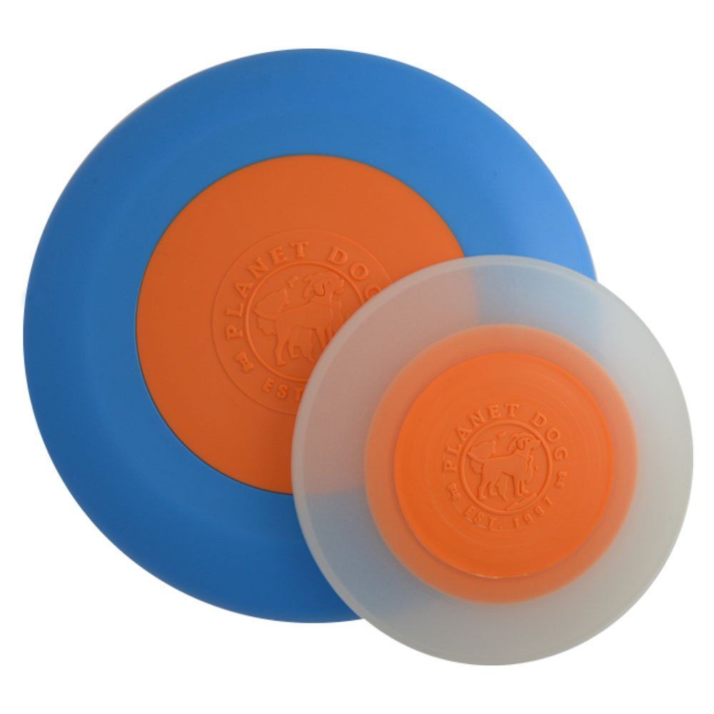Planet Dog Orbee Tuff Zoom Flyer, Interactive Fetch Dog Toy for Small Dogs, 100% Guranteed, Made in the USA, Glow in the Dark, Small 6.5'', Glow and Orange