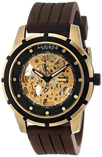 Akribos XXIV Men's AKR444YG Premier Delos Automatic Skeleton Gold Watch
