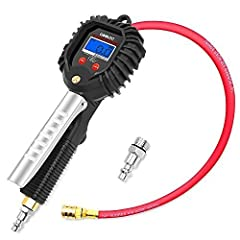Why buy the GOOLOO Tire Pressure Gauge Inflator? Better Auto-Locking – Upgraded heavy duty brass air chuck make it easier locking onto stem valves - no air leakage ever since. Recommended by Mechanics – This quick fill air tool comes with a f...