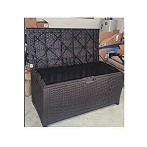 Outdoor Wicker Storage Box Patio Furniture Large Garage Kitchen Big Deck Resin Basket Lock Bench Container & eBook by OISTRIA