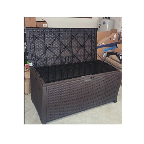 Outdoor Wicker Storage Box Patio Furniture Large Garage Kitchen Big Deck Resin Basket Lock Bench Container & eBook by OISTRIA by OIS