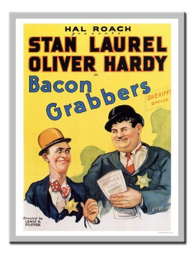 (Iposters Laurel And Hardy Bacon Grabbers Movie Print 1929 Magnetic Memo Board Silver Framed - 41 X 31 Cms (approx 16 X 12)