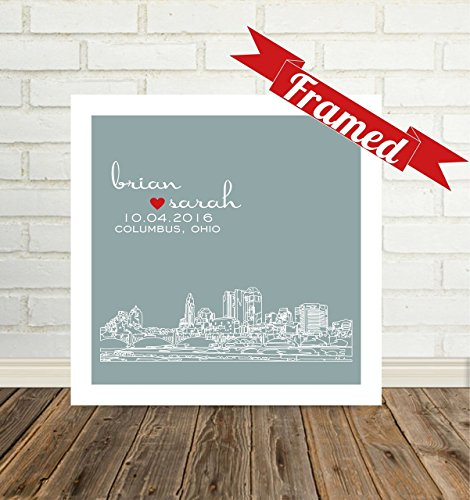 Anniversary Gift Personalized Columbus Skyline 1st Anniversary Gift FRAMED Skyline Art Any City Available Paper Anniversary Gift for Him (Paper Available)