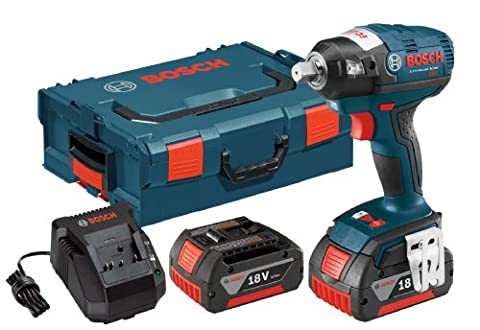 Bosch IWBH182-01L 18-volt Brushless 1/2-Inch Pin Detent Impact Wrench with 4.0Ah Batteries, Charger and (Impact Wrench Attachment)