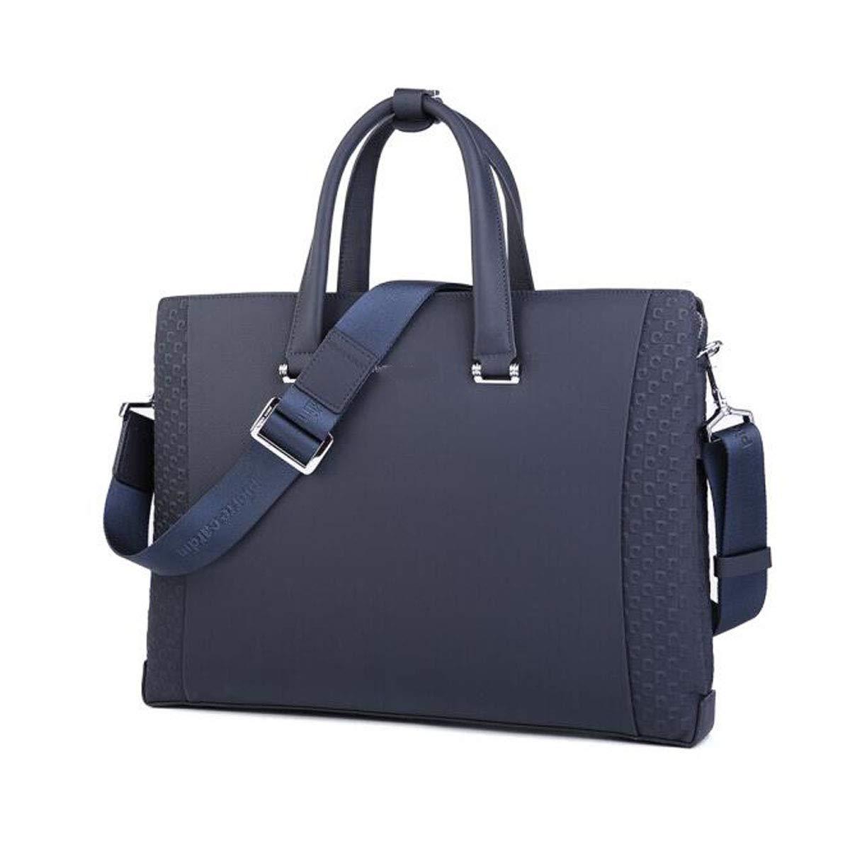 Hengxiang メッセンジャーバッグ、ラップトップブリーフケース、ビジネスメンズバッグ、レザーメンズメッセンジャーバッグ、レザーショルダースランコンピューターバッグ、ブラックサイズ:405.529cm ビジネスオフィスメッセンジャーバッグ(色:ブルー)   B07P7G7VHB