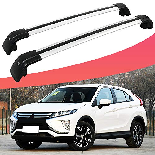 SnailAuto Cross Bars with Lock Luggage Bar Silver Roof Rack Fit for Mitsubishi Eclipse Cross 2018 2019 (Rack Mitsubishi Roof Eclipse)