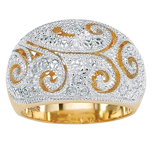 White Diamond Accent 18k Yellow Gold over Sterling Silver Filigree Dome Ring Size 9