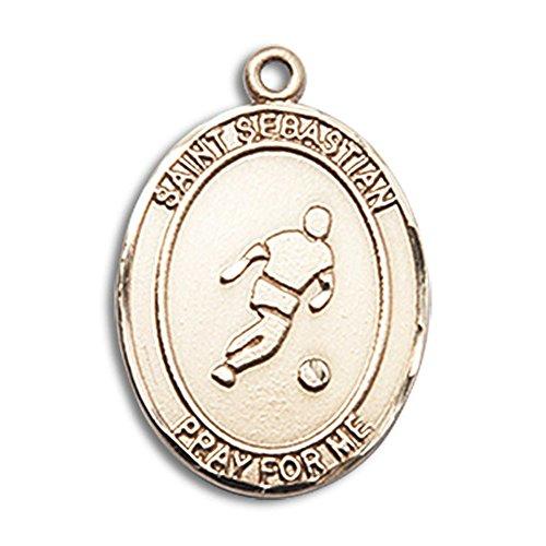 14kt Yellow Gold St. Sebastian/Soccer Medal 3/4 x 1/2 (Ball Pendant 14kt Gold Jewelry)