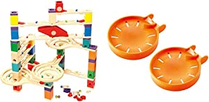 Hape Quadrilla Wooden Marble Run Construction - Vertigo - Quality Time Playing Together Wooden Safe Play - Smart Play for Smart Families & Quadrilla Wooden Marble Run Construction Catcher Tray Add-On