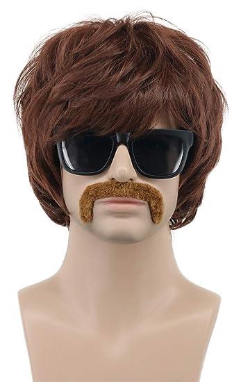 Amazon.com: VGbeaty 70s - Peluca de bigote corto para hombre ...