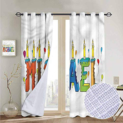 (NUOMANAN Grommet Curtains Michael,Joyous Name Pattern,Blackout Draperies for Bedroom Window)