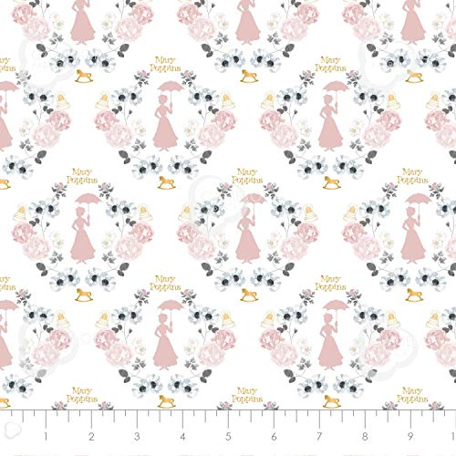 Mary Poppins Damask in White with Metallic Gold Premium Quality Cotton by The Yard