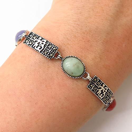 - 925 Sterling Silver Multi-Color Jade & Marcasite Gem Chinese Link Bracelet 7.5