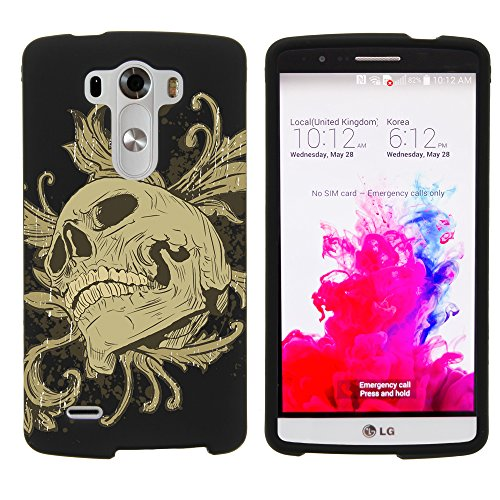 Miniturtle Case Compatible W  Miniturtle  Slim Fit Graphic Design Image 2 Piece Snap On Protector Hard Phone Case Cover    And Film For Android Smartphone Lg G3  At T D850   Verizon Vs985   T Mobile D851   Sprint 990  Skull And Leaves