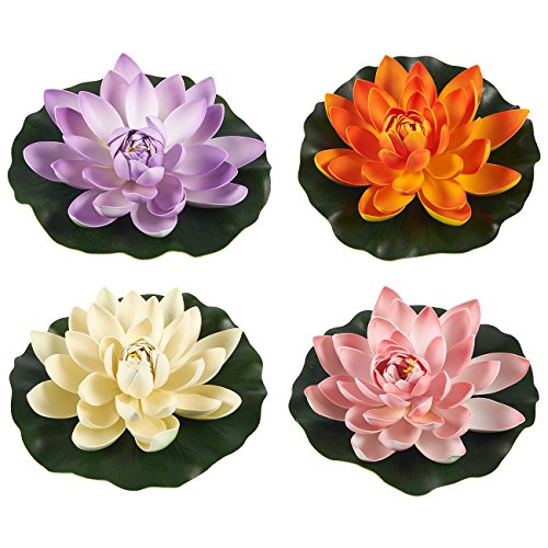 Juvale Floating Flowers - Set of 4 Artificial Water Lilies, Floating Lotus Pond Decor, 11.5 x 2.1 inches