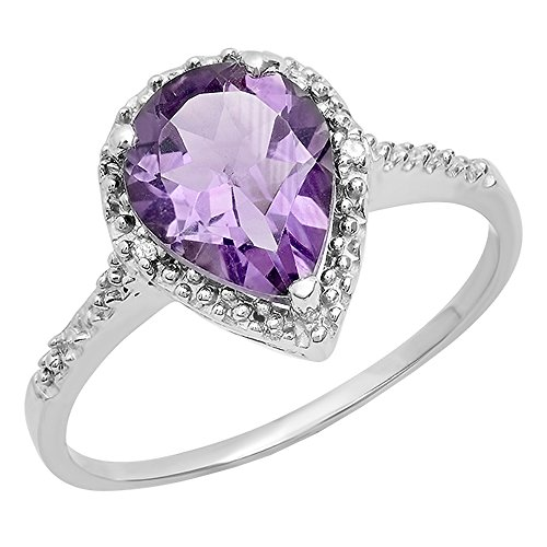 Dazzlingrock Collection Sterling Silver 10X7 MM Pear Amethyst & Round White Diamond Ladies Engagement Ring, Size 6 ()
