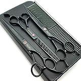 7.0in. Matt black Professional Pet Grooming Scissors set,Straight & Thinning & Curved scissors set,Dog grooming shears,A389
