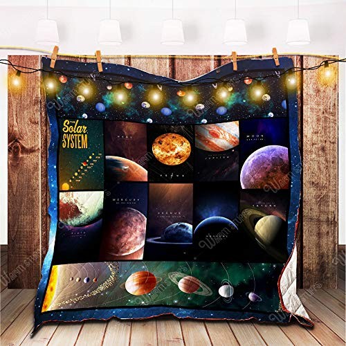 Solar System Quilt BB, King - All Season Quilts Comforters with Reversible Cotton King/Queen/Twin Size - Best Decorative Quilts-Unique Quilted for Gifts Bb Set Solar System