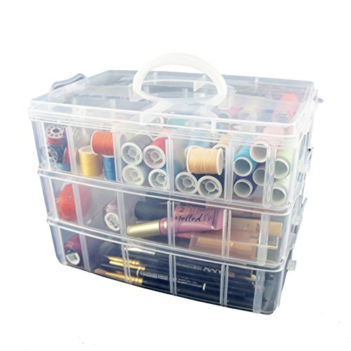 Bins & Things Storage Container with 30 Adjustable Compartments for Storing & Organizing Sewing Embroidery Accessories Threads Bobbins Beads Beauty Supplies Nail Polish Jewelry Arts & Crafts – Large