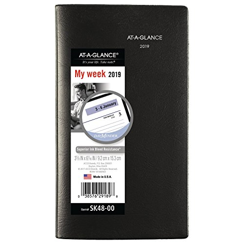 AT-A-GLANCE DayMinder Weekly Pocket Planner, January 2019 - December 2019, 3-1/2'' x 6-3/16'', Black (SK4800) by At-A-Glance
