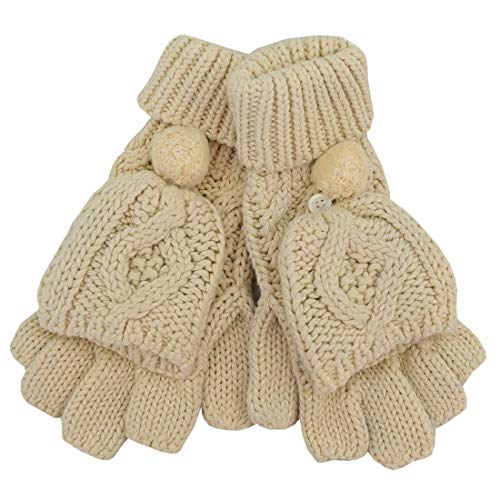 Patrick Francis Cream Aran Knit Aran Pomp Mitten Gloves -