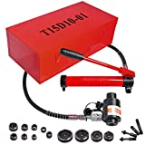 15 Ton 1/2'' to 4'' Hydraulic Knockout Punch Driver Kit Hole Complete Tool 10 Dies 11 14 Gauge Tool Metal Case Red