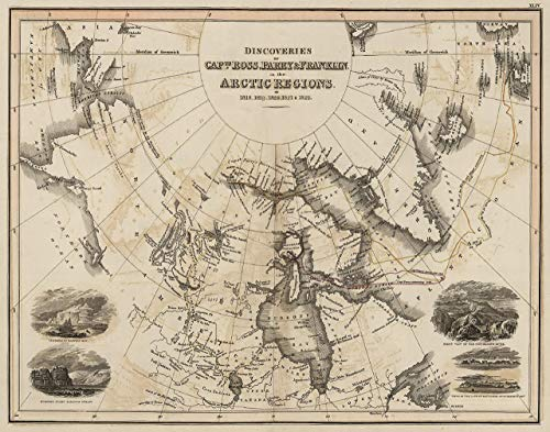 (1818-1822 Discoveries in the Arctic Regions Map Unique Art Wall Decor - Great Gift for a History Buff)