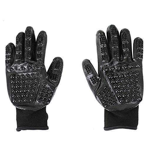 Lacaty Pet Grooming Gloves- Dog Cat Horse Glove Brush Long Short Hair Remover Small Large Pets Groomer Fur Removal Mitt Rubber Curry Comb Mit Hand Brushing Removing Cleaning Kit Pair (Color : Black)