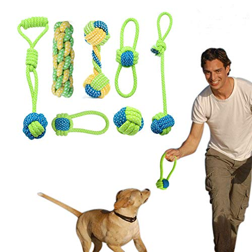 Dog Rope Toys Puppy Chew Toys Set of 7, Dog Cotton Rope Toys Nature Teething Toy for Dental Health, Stress-Free Dog Training -