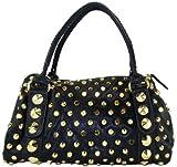 Zigi New York Stud Muffin Women's Satchel Bag (Black/Gold), Bags Central