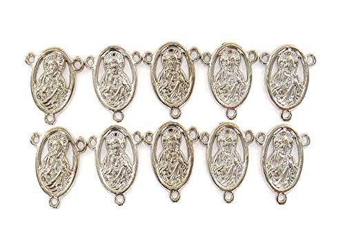 Hail Mary Holy Mother Virgin Links Jewelry Connectors | 15x18mm Silver Charms Bracelet Pendant Connector Findings Charms Bar Link | 3 Loops Hole Dia 1.5mm 10pcs