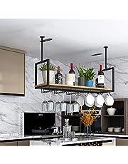 Takhylla tak vinställ, järn massivt trä tak hylla hylla stamware hållare, för barer/restauranger/kök förvaringsställ och hyllor, 3 storlekar/svart (storlek: 100 x 30 x 60 cm)