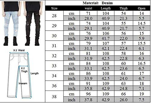 Biker Long Jeans Denim Vintage Destroyed Slim Uomo Moderna Alsbild Fit Torn Casual Stretch Da Pantaloni OHwEH1