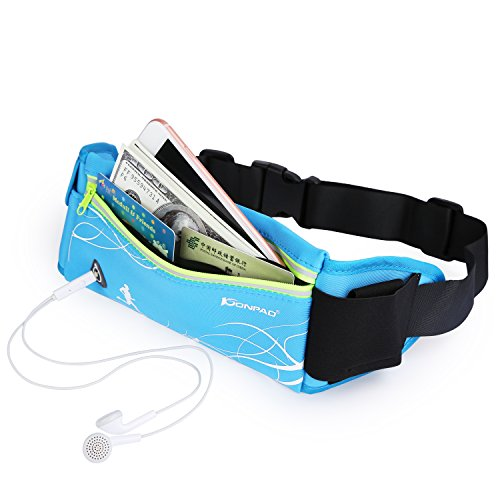 KONPAD Fanny Pack Neoprene Waterproof Running Belt with Water Bottle Holder for Running Hiking Travelling Sports bags for Iphone X 8 7 Plus