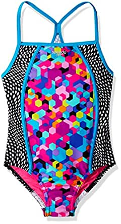 Speedo Girls Hexaplex Thin Strap Swimming One Piece, Rainbow Brights, Size 8